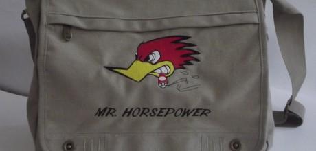borsa canvas ricamo mr horsepower